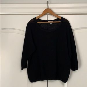 ❤️James Perse Open Knit Too Black 3/4 Sleeve M
